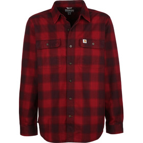 Carhartt Hubbard Slim Fit Flannel Shirt Men dark crimson